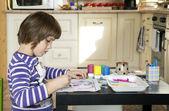 Painting little girl. — Stock Photo