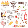 BBQ, Grilling Set Vector — Stock Vector
