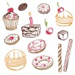Cakes, sweets, donuts — Stock Vector #31448613