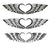 Перья, крылья, сердца — Cтоковый вектор