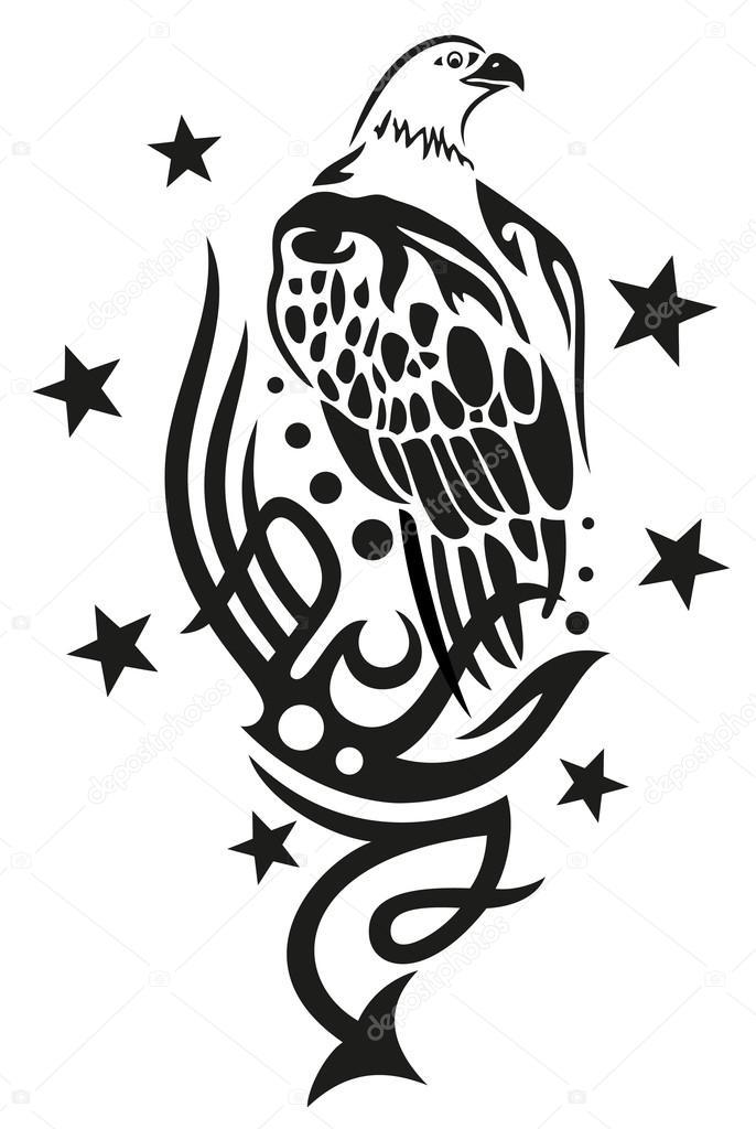 部落的鹰和星星的纹身 — 图库矢量图片#31448221