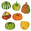 Halloween, pumpkins — Stock Vector