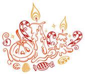 Halloween, pumpkin, candy — Stock Vector