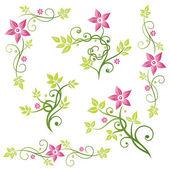 Flowers, tendril, leaves — Stock Vector