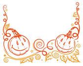 Cadılar bayramı, kabak, yaprakları — Stok Vektör