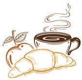 Breakfast, coffee, croissant — Stock Vector