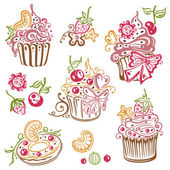 Muffins, cupcakes — Stock Vector