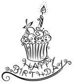 Birthday, muffin, cupcake — Stock Vector