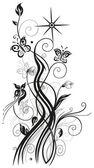 Flores, zarcillo, mariposa — Vector de stock