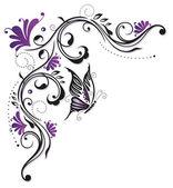 Bloemen, vlinder, paars, violet — Stockvector
