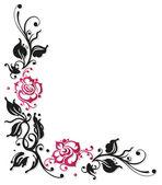 Rosas, hojas, amor — Vector de stock