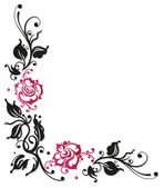 Rose, foglie, amore — Vettoriale Stock