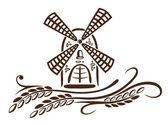 Molino, cereales, pan — Vector de stock