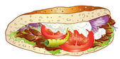 Kebab, bread, salad — Stock Vector