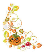 Halloween tendril, pumpkin — Stock Vector