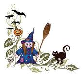 Halloween, czarownice, nietoperze — Wektor stockowy