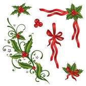 Christmas, holly, loops — Stock Vector