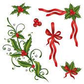 Christmas, holly, loops — Stock Vector