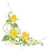 Ostern, küken, narzissen — Stockvektor