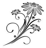 Černé květy — Stock vektor