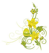 Easter eggs with daffodils — Stock Vector