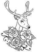 Deer and beautiful roses — Vector de stock
