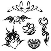 Tribals, hearts — Stock Vector