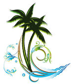 Palm trees and waves — Stock Vector
