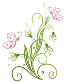 Snowdrops with butterflies — Stock Vector