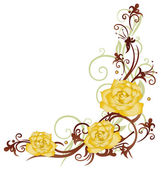 Yellow roses ornament — Stock Vector