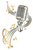 Microphone with music — Stock Vector