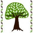 Tree with white leaves on green — Stock Vector