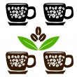 Stock Vector: Cups of coffee with beans and leaves