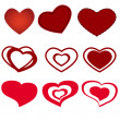 Stock Vector: Set of red hearts