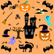 Set of Halloween elements. Vector — Stock Vector