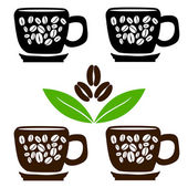 Cups of coffee with beans and leaves — Stock Vector
