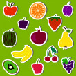 Stock vektor: Fruits and berries set vector