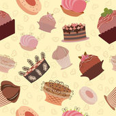 Seamless sweet cupcake background pattern. Vector — Vector de stock