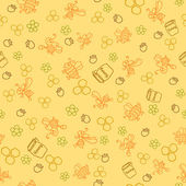 Seamless pattern with honey bees in a honeycomb — Vector de stock