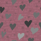 Seamless pattern made of hearts and romantic handwritten words i — Vettoriale Stock