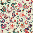 Cute seamless pattern with birds and hearts — Stok Vektör #51256683