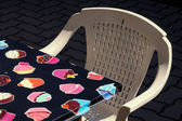 Plastic chair and table — Stock Photo
