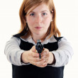 Young Woman with handgun — Stock Photo