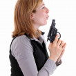 Profile view of woman holding a hadgun — Stock Photo