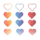 Set of Vector Dodle Hearts — Stock Vector