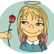 Girl with flower — Imagen vectorial