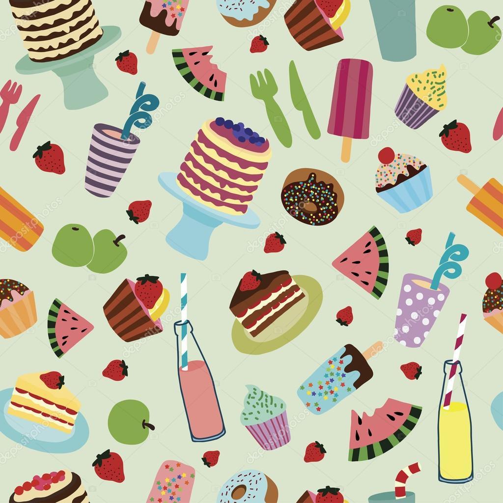 Food pattern — Stock Vector © apzats #33011113