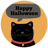 Halloween black cat. — Stock Vector