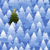 Christmas trees forest pattern. — Stock Vector