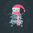 Cute snowman on holiday card. — Stock Vector